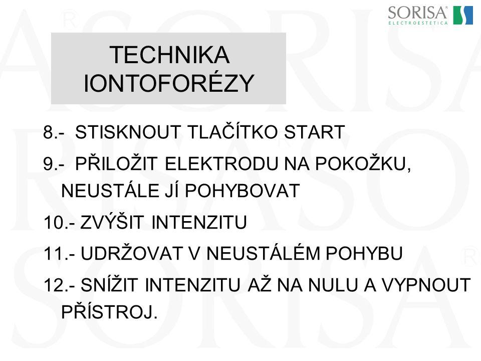TECHNIKA IONTOFORÉZY 8.- STISKNOUT TLAČÍTKO START