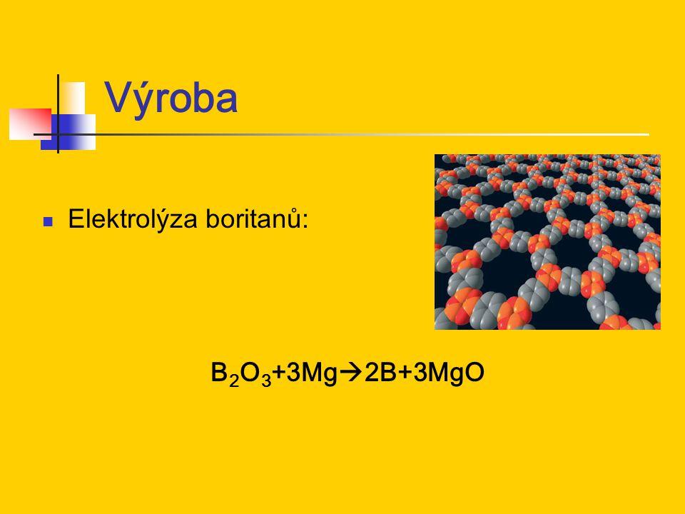 Výroba Elektrolýza boritanů: B2O3+3Mg2B+3MgO