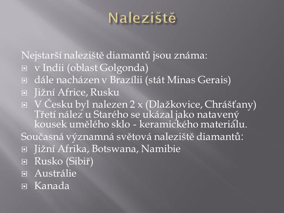 Naleziště Nejstarší naleziště diamantů jsou známa: