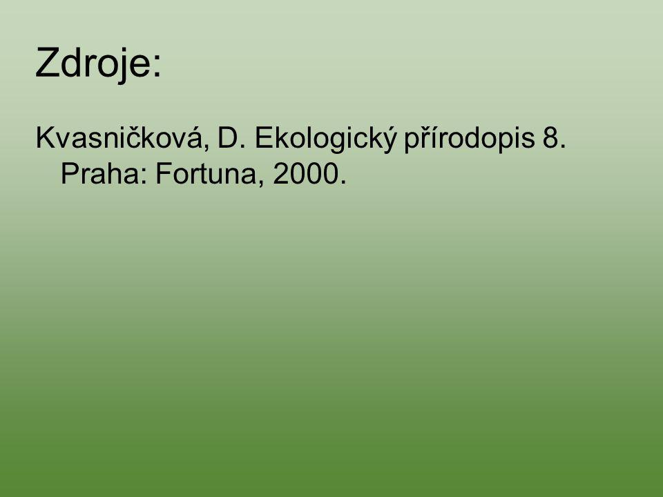 Zdroje: Kvasničková, D. Ekologický přírodopis 8. Praha: Fortuna, 2000.