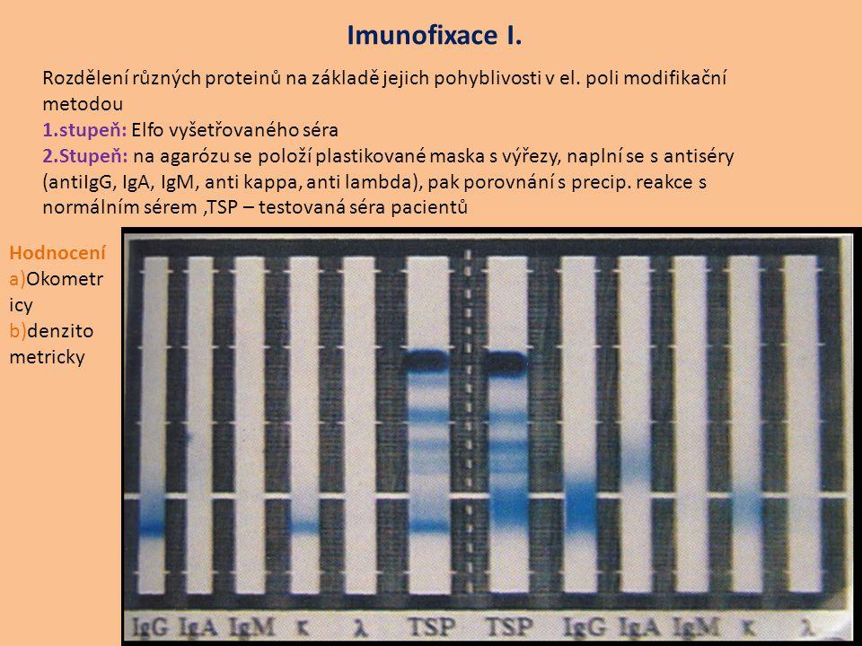 Imunofixace I. Rozdělení různých proteinů na základě jejich pohyblivosti v el. poli modifikační metodou.