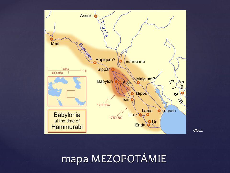Obr.2 mapa MEZOPOTÁMIE