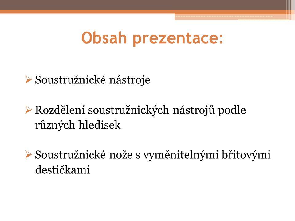 Obsah prezentace: Soustružnické nástroje