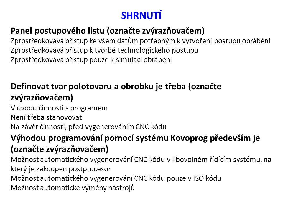 SHRNUTÍ Panel postupového listu (označte zvýrazňovačem)