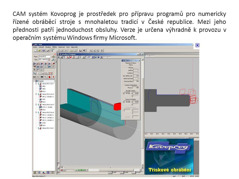 CAM systém Kovoprog je prostředek pro přípravu programů pro numericky řízené obráběcí stroje s mnohaletou tradicí v České republice.