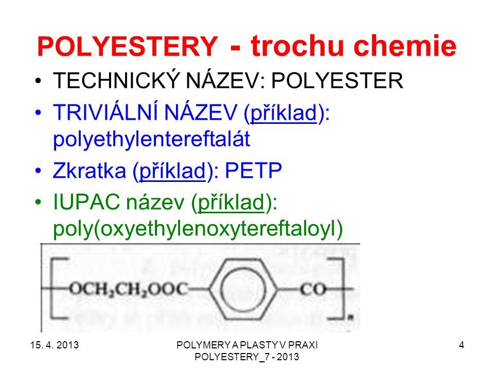 POLYESTERY - trochu chemie