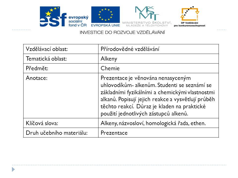 Vzdělávací oblast: Přírodovědné vzdělávání. Tematická oblast: Alkeny. Předmět: Chemie. Anotace:
