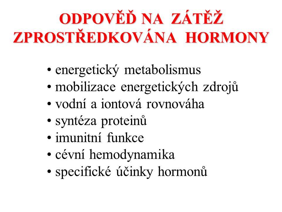 ODPOVĚĎ NA ZÁTĚŽ ZPROSTŘEDKOVÁNA HORMONY