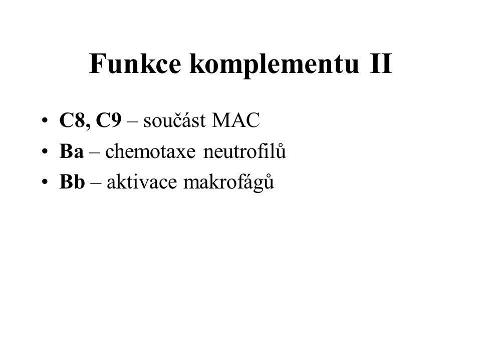 Funkce komplementu II C8, C9 – součást MAC Ba – chemotaxe neutrofilů