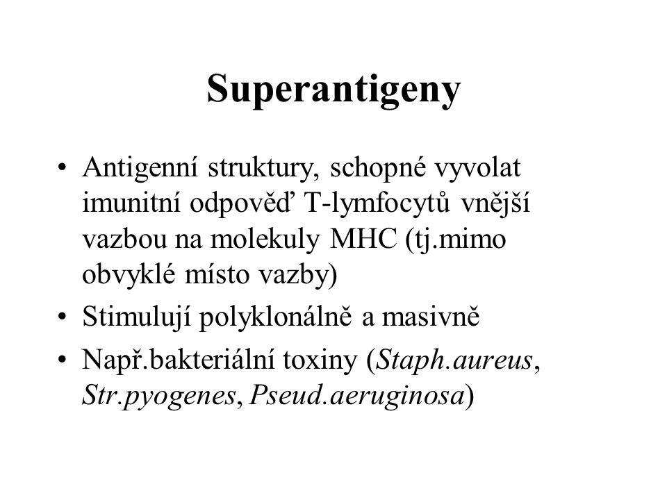 Superantigeny Antigenní struktury, schopné vyvolat imunitní odpověď T-lymfocytů vnější vazbou na molekuly MHC (tj.mimo obvyklé místo vazby)