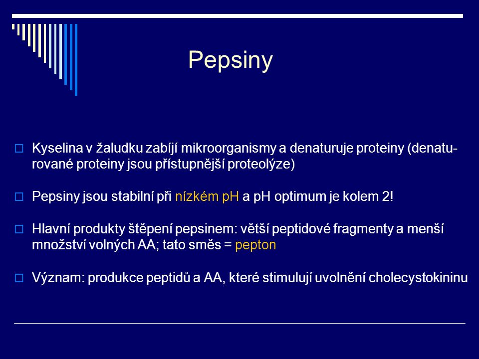 Pepsiny Kyselina v žaludku zabíjí mikroorganismy a denaturuje proteiny (denatu-rované proteiny jsou přístupnější proteolýze)
