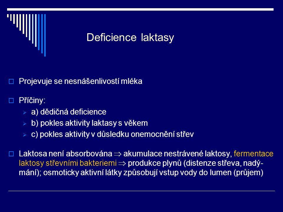 Deficience laktasy Projevuje se nesnášenlivostí mléka Příčiny: