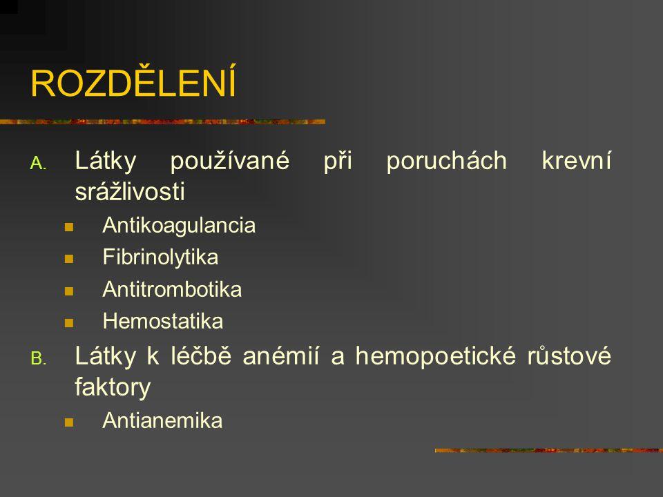 ROZDĚLENÍ Látky používané při poruchách krevní srážlivosti