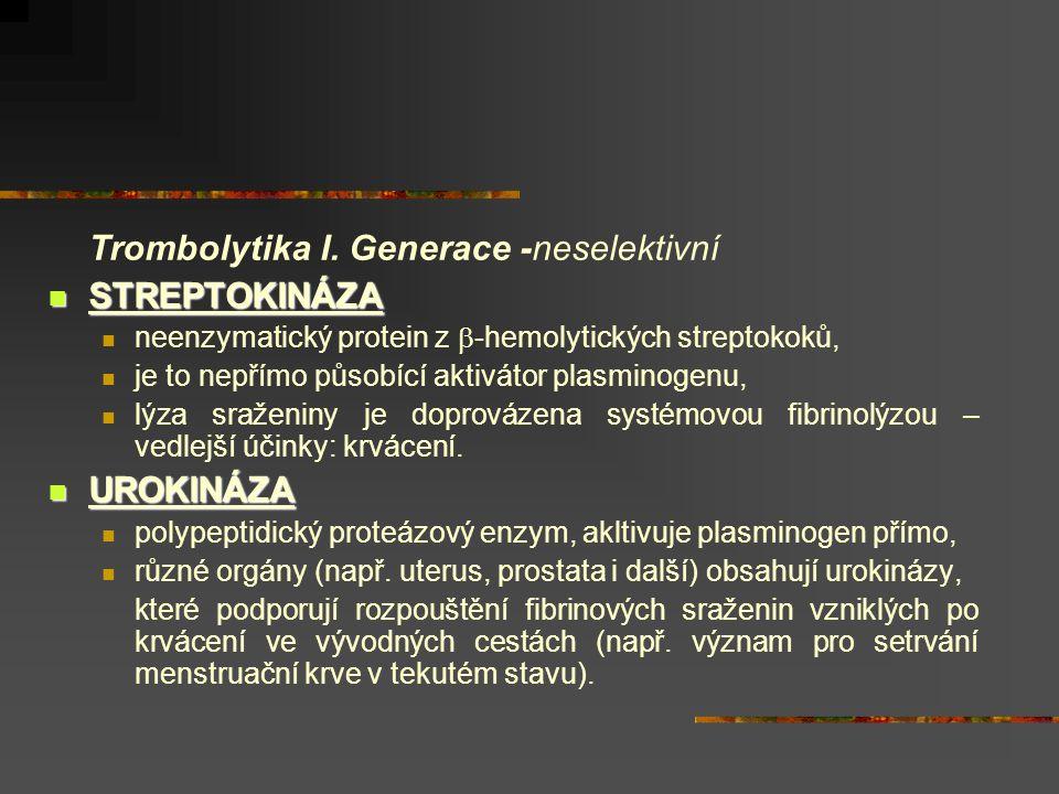 Trombolytika I. Generace -neselektivní STREPTOKINÁZA