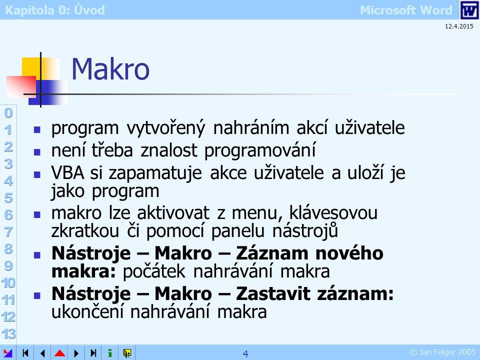 Makro program vytvořený nahráním akcí uživatele