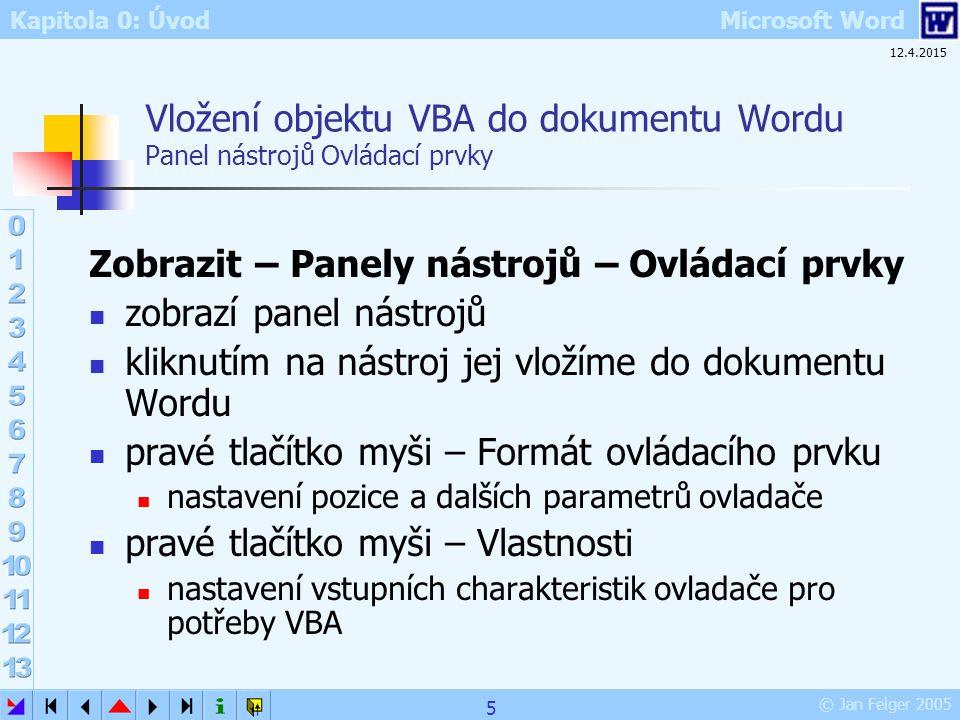 Vložení objektu VBA do dokumentu Wordu Panel nástrojů Ovládací prvky