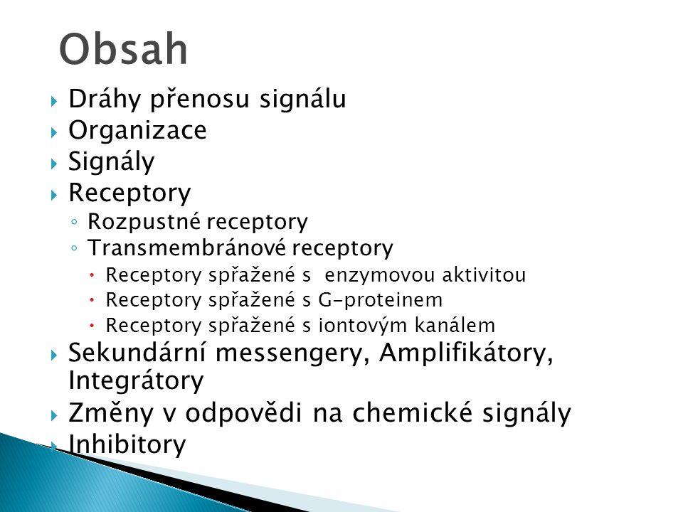 Obsah Změny v odpovědi na chemické signály Dráhy přenosu signálu
