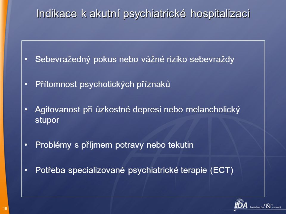 Indikace k akutní psychiatrické hospitalizaci