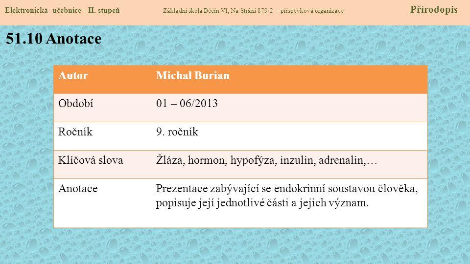 51.10 Anotace Autor Michal Burian Období 01 – 06/2013 Ročník 9. ročník