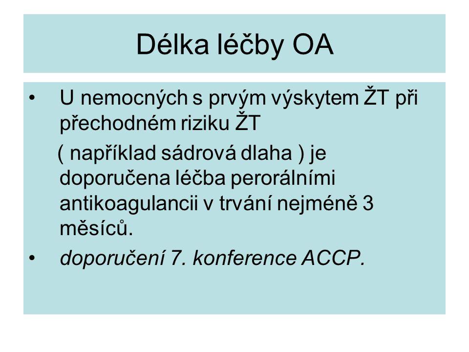 Délka léčby OA U nemocných s prvým výskytem ŽT při přechodném riziku ŽT.