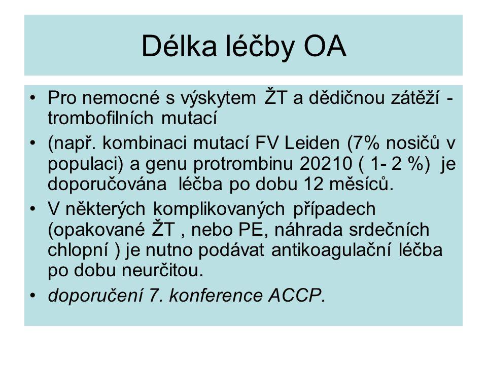 Délka léčby OA Pro nemocné s výskytem ŽT a dědičnou zátěží - trombofilních mutací.
