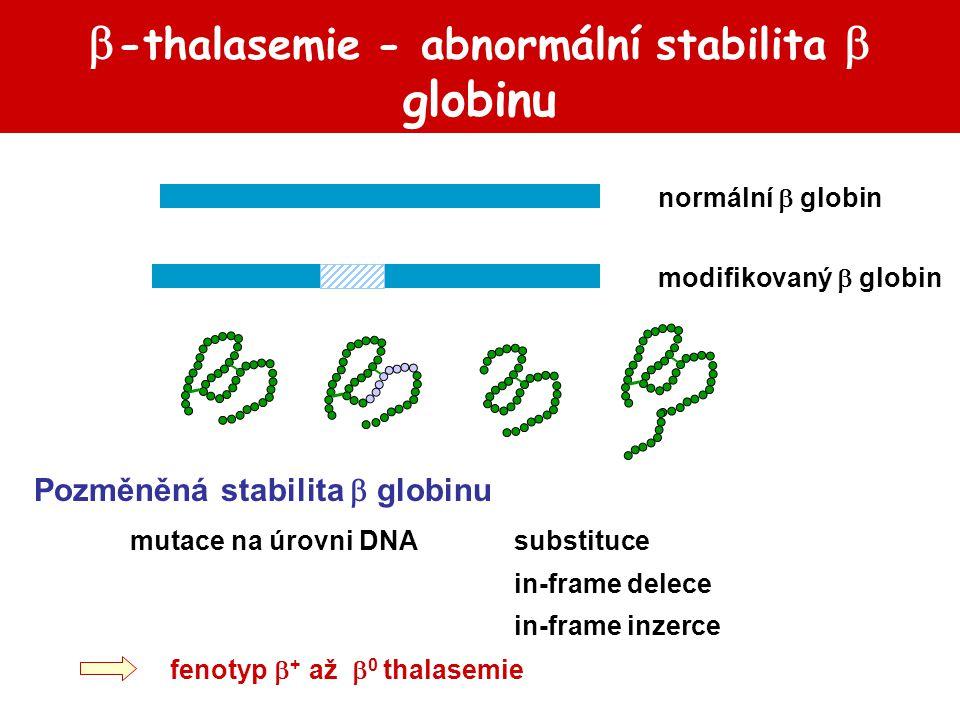 -thalasemie - abnormální stabilita  globinu