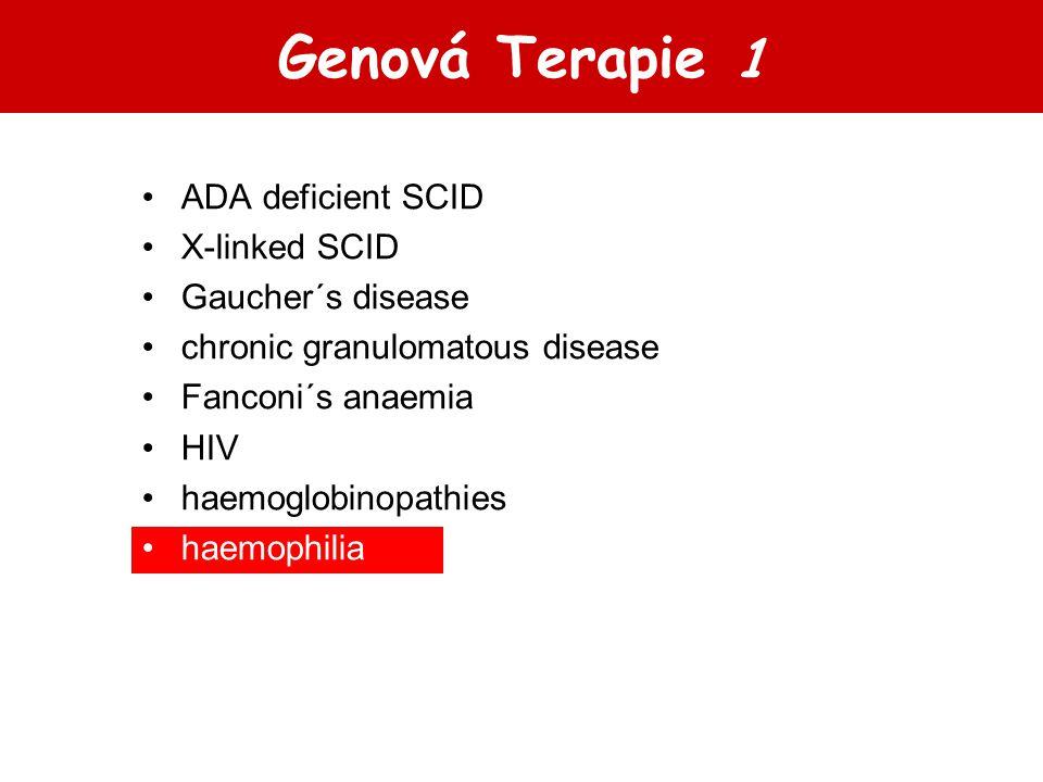 Genová Terapie 1 ADA deficient SCID X-linked SCID Gaucher´s disease