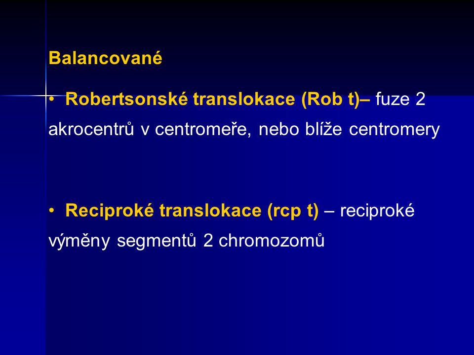 Balancované Robertsonské translokace (Rob t)– fuze 2 akrocentrů v centromeře, nebo blíže centromery.
