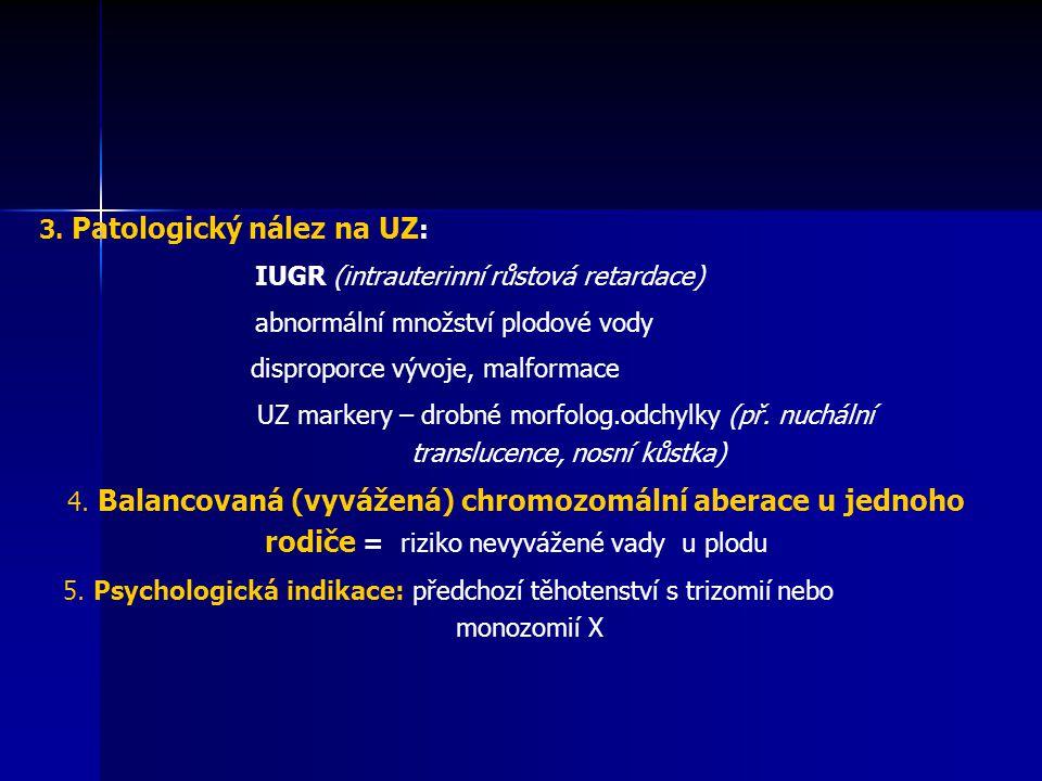 3. Patologický nález na UZ: