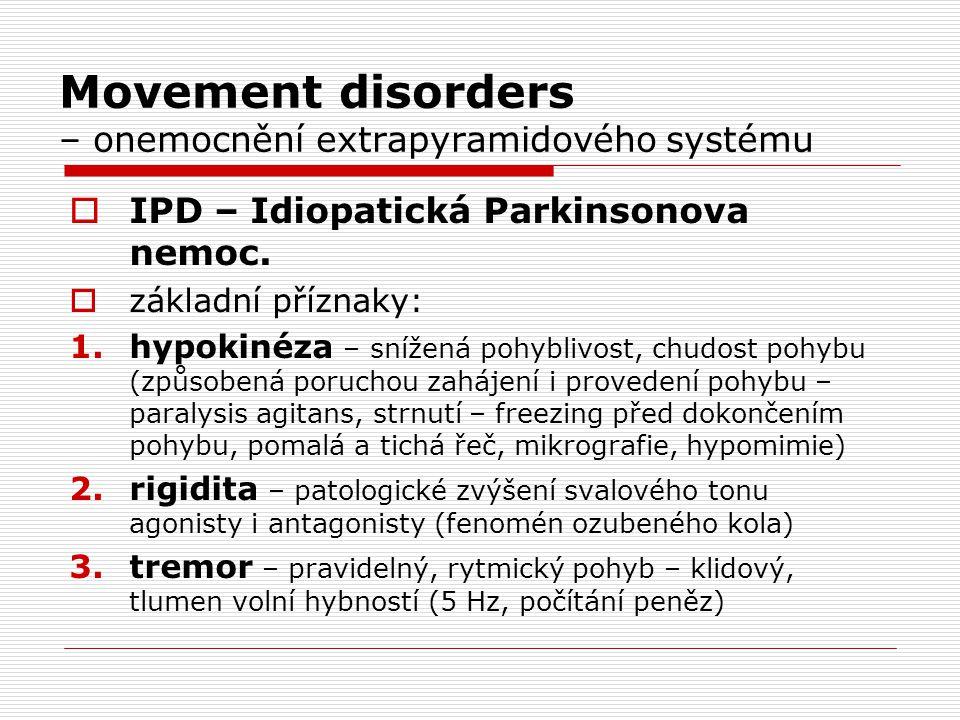 Movement disorders – onemocnění extrapyramidového systému