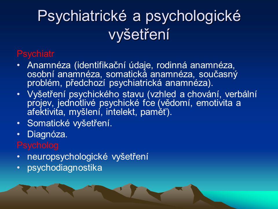 Psychiatrické a psychologické vyšetření