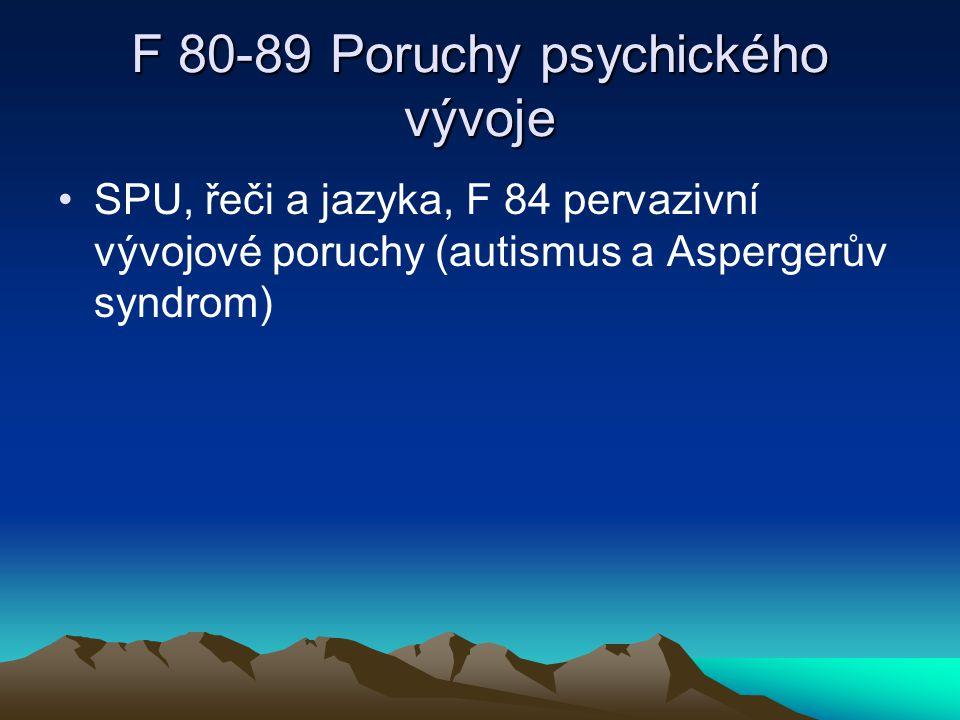 F 80-89 Poruchy psychického vývoje