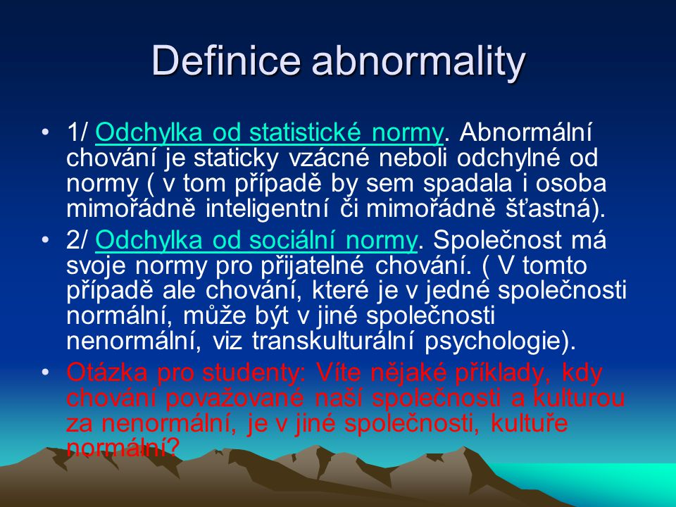 Definice abnormality