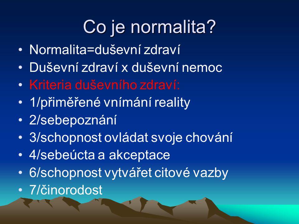 Co je normalita Normalita=duševní zdraví