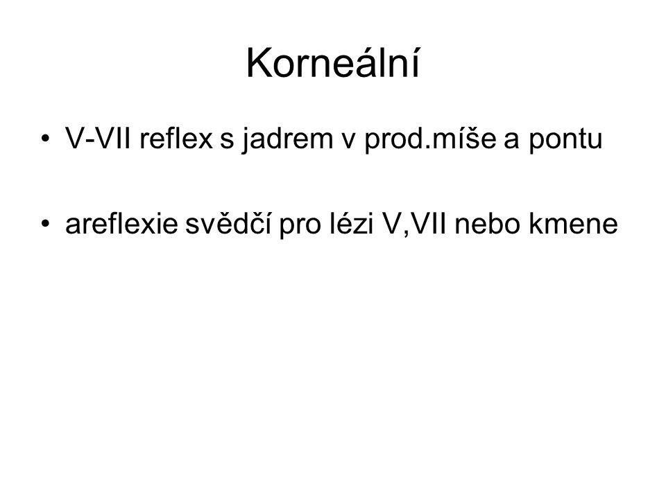 Korneální V-VII reflex s jadrem v prod.míše a pontu