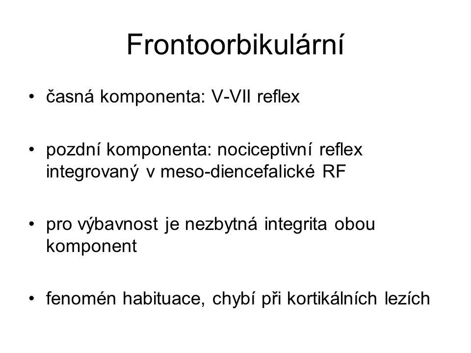 Frontoorbikulární časná komponenta: V-VII reflex