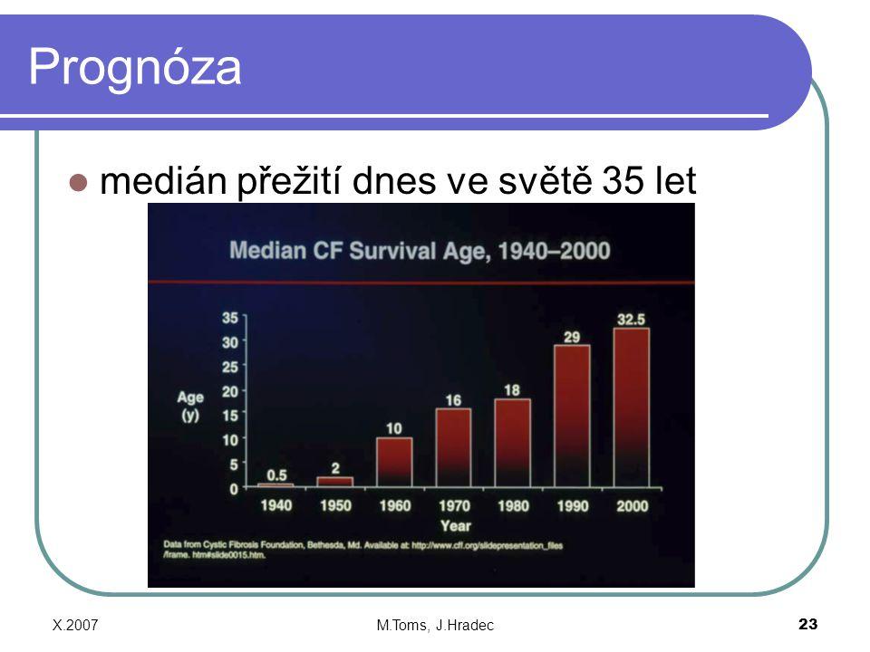 Prognóza medián přežití dnes ve světě 35 let X.2007 M.Toms, J.Hradec