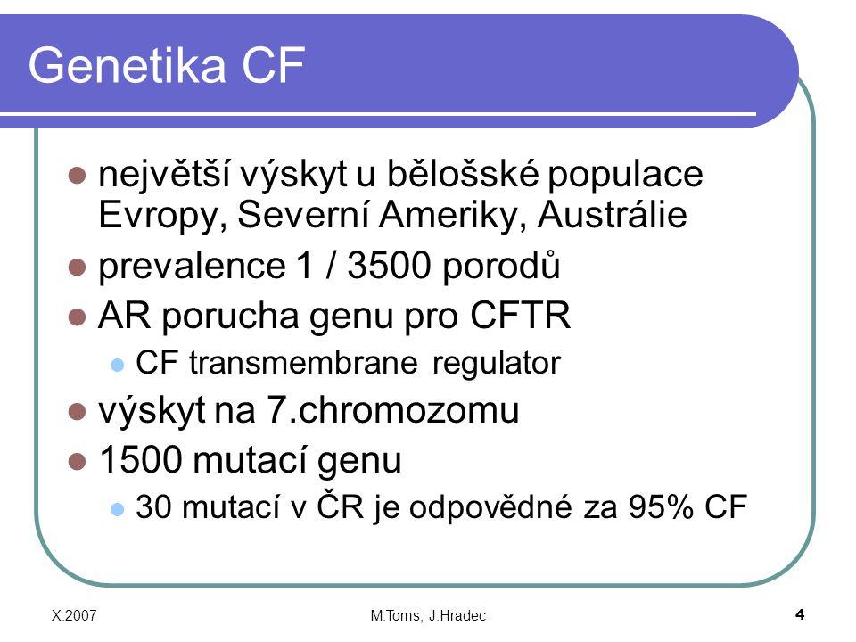 Genetika CF největší výskyt u bělošské populace Evropy, Severní Ameriky, Austrálie. prevalence 1 / 3500 porodů.
