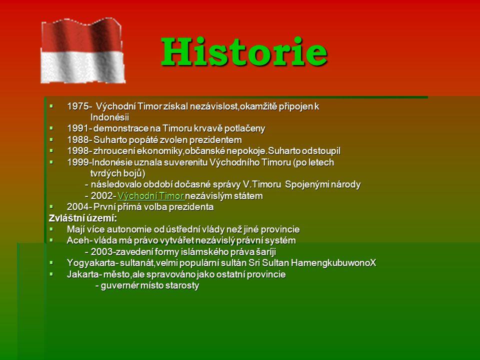 Historie 1975- Východní Timor získal nezávislost,okamžitě připojen k
