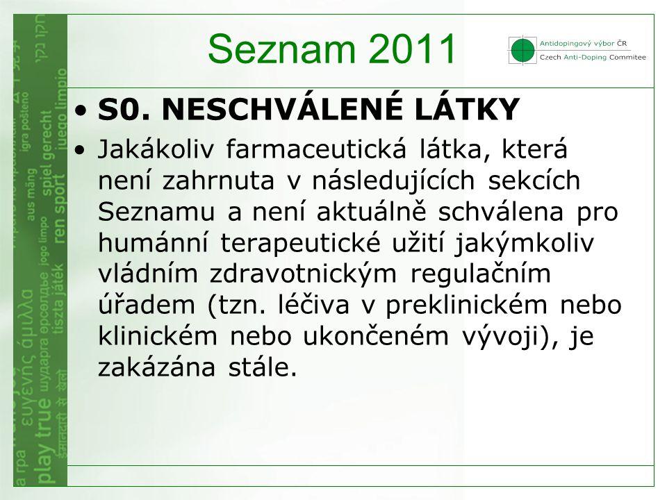 Seznam 2011 S0. NESCHVÁLENÉ LÁTKY