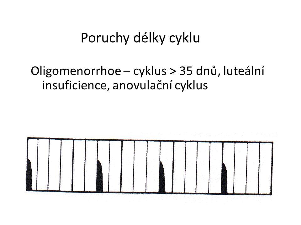 Poruchy délky cyklu Oligomenorrhoe – cyklus > 35 dnů, luteální insuficience, anovulační cyklus