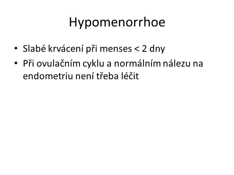 Hypomenorrhoe Slabé krvácení při menses < 2 dny