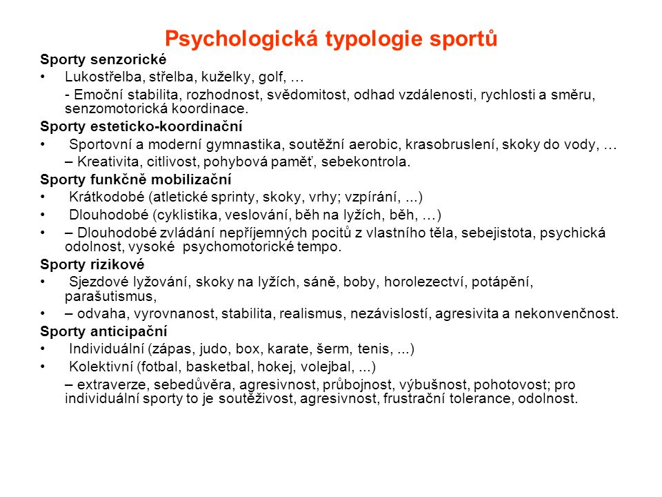 Psychologická typologie sportů