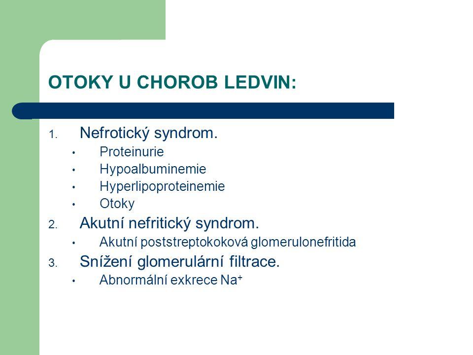 OTOKY U CHOROB LEDVIN: Nefrotický syndrom. Akutní nefritický syndrom.