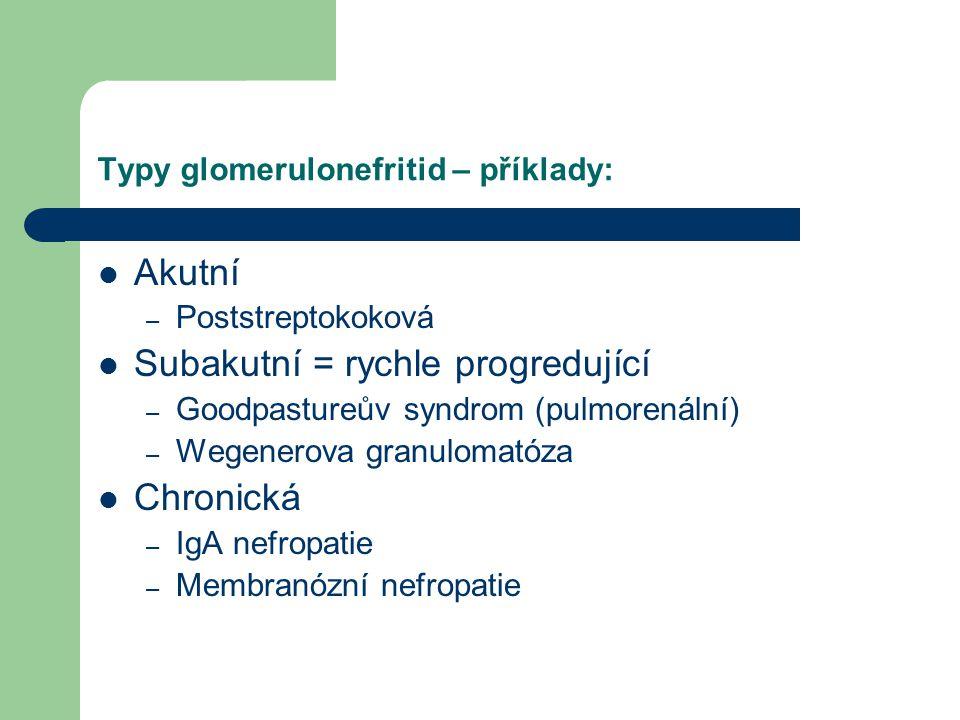 Typy glomerulonefritid – příklady: