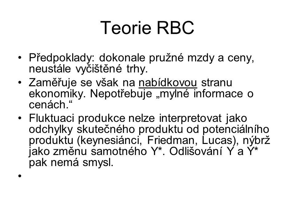 Teorie RBC Předpoklady: dokonale pružné mzdy a ceny, neustále vyčištěné trhy.