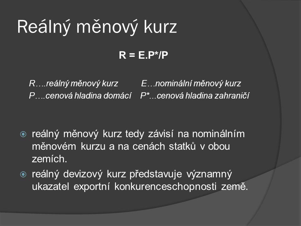 Reálný měnový kurz R = E.P*/P