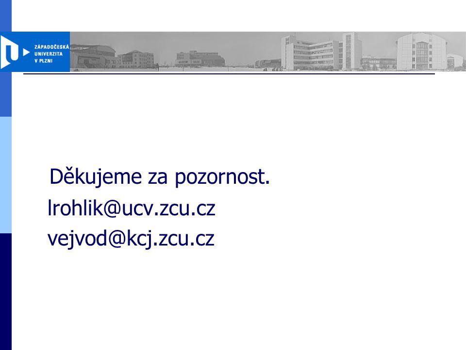 Děkujeme za pozornost. lrohlik@ucv.zcu.cz vejvod@kcj.zcu.cz