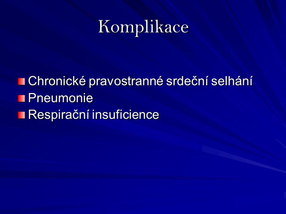 Komplikace Chronické pravostranné srdeční selhání Pneumonie