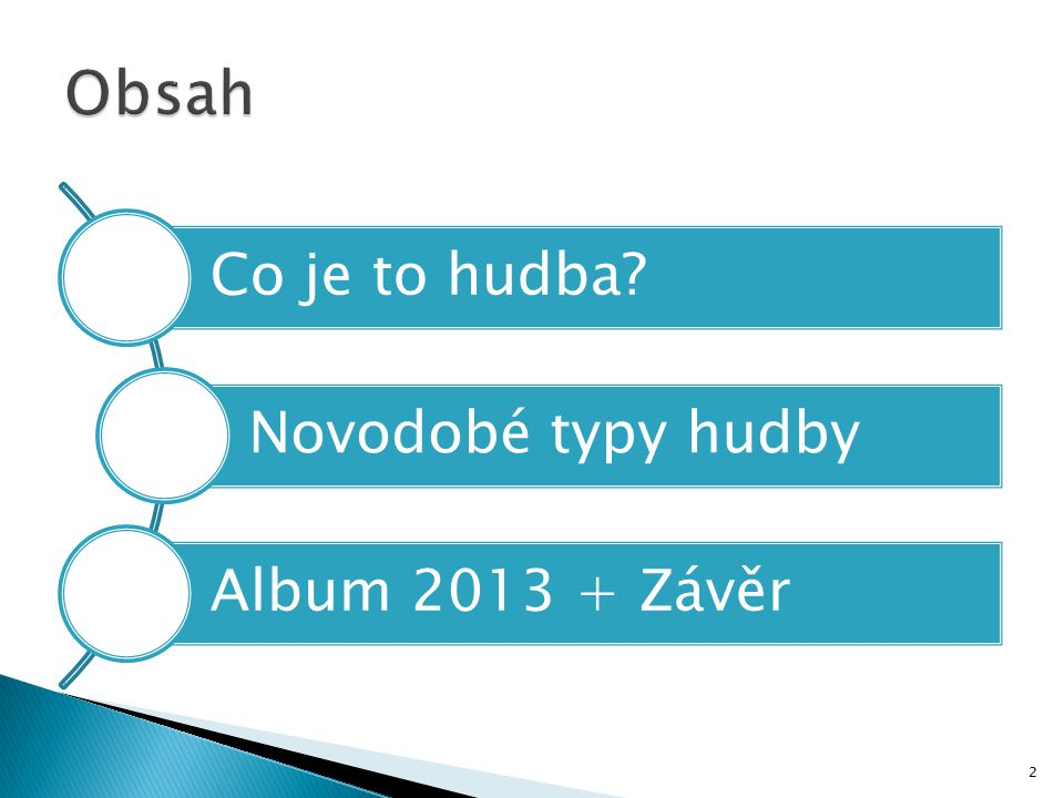 Obsah Co je to hudba Novodobé typy hudby Album 2013 + Závěr